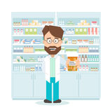Smiling pharmacist in pharmacy. shelves with medications. Flat isolated illustration Stock Images