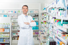 Smiling Pharmacist Standing Arms Crossed In Royalty Free Stock Photos