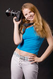 Smiling photographer Stock Photo