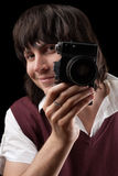 Smiling photographer with the vintage camera Royalty Free Stock Image