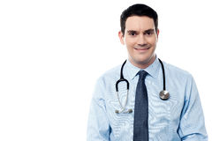Smiling physician isolated over white Stock Photography