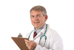 Smiling Physician. Portrait of smiling mature physician. Shot against white background Royalty Free Stock Images