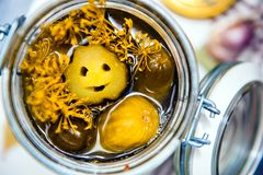 Smiling pickle. A smiling pickled cucumber in a jar with herbs royalty free stock image