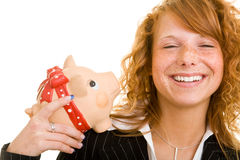 Smiling with piggy bank Stock Photos