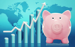 Piggy bank with rising bar graph. Smiling Piggy bank with bar graph and rising arrow Stock Image