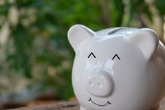 Smiling piggy bank with bokeh background. Savings and investment concept. Copy space. Smiling piggy bank with bokeh background. Savings and investment concept royalty free stock photo