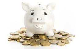 Smiling piggy bank Stock Photos
