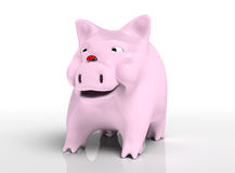 Smiling piggy bank with ladybird on nose Royalty Free Stock Photography