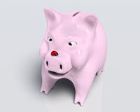 Smiling piggy bank with ladybug on nose Royalty Free Stock Photos