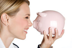 Smiling Piggybank Girl Royalty Free Stock Photography