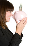 Smiling Piggybank Woman Stock Photography