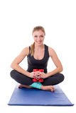 Smiling pilates trainer posing with dumbbells Royalty Free Stock Photography