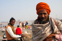 Smiling pilgrim at Kumbh Mela Royalty Free Stock Photos