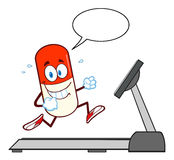 Smiling Pill Capsule Cartoon Character Running On A Treadmill Stock Photography
