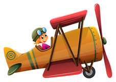 A smiling pilot on a vintage plane. Lllustration of a smiling pilot on a vintage plane on a white background Stock Photo