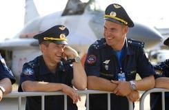Smiling pilots. MAKS International Aerospace Salon Stock Photography