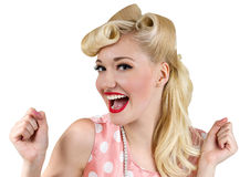 Smiling pin up blonde woman. Vintage style portrait of smiling blonde girl Stock Photos