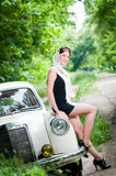 Smiling pin-up styled girl Royalty Free Stock Photography