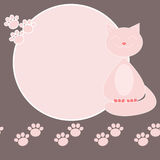 Smiling pink cat label Stock Photos