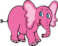 Smiling pink elephant. A cartoon illustration of a happy cheerful smiling pink elephant with large blue eyes Royalty Free Stock Photography