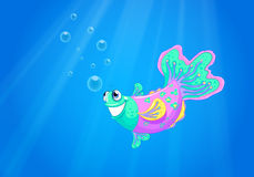 A smiling pink fish in the ocean. Illustration of a smiling pink fish in the ocean Royalty Free Stock Image