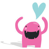 Smiling Pink Monster in Love Stock Images