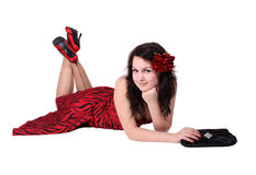 Smiling Pinup Girl Stock Photography