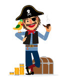 Smiling pirate character with parrot Royalty Free Stock Photography