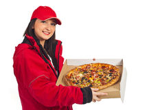 Smiling pizza delivery woman Royalty Free Stock Images