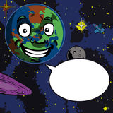 Smiling Planet Cartoon with speech bubble Stock Photos