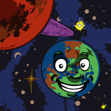 Smiling Planet Cartoon Royalty Free Stock Photos