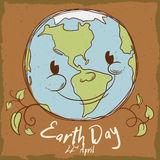 Smiling Planet in Retro Style Poster for Earth Day, Vector Illustration Royalty Free Stock Photography
