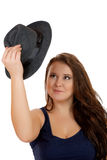 The smiling plump girl with a hat Stock Photography