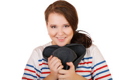 The smiling plump girl with a hat isolated Stock Photos
