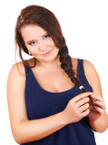 The smiling plump girl points a finger isolated Stock Photography