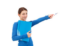 Smiling, pointing student Stock Photo