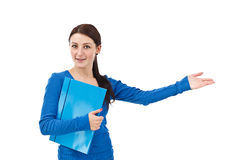 Smiling, pointing student Royalty Free Stock Images
