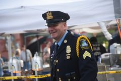 A smiling policeman stock images