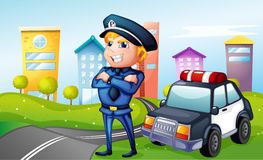 A smiling policeman at the road Stock Images