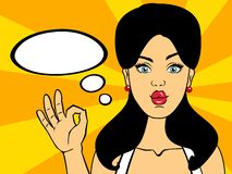 Smiling pop art woman saying OK with speech bubble vector illustration