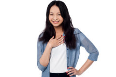 Smiling portrait of an attractive asian model Royalty Free Stock Photo