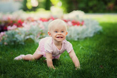 Smiling portrait cute baby-girl on green grass Stock Photos