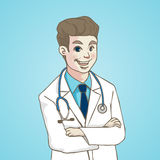 Smiling Portrait Doctor with stethoscope, character cartoon. VECTOR ILLUSTRATION Royalty Free Stock Images