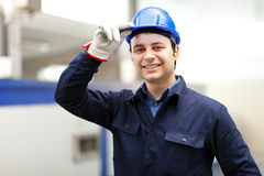 Smiling portrait of an electrician Stock Photos