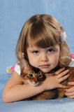 Smiling portrait of little girl with kitten. Smiling portrait of little girl with purebred somali kitten lying on blue background in studio and looking at camera Royalty Free Stock Photo