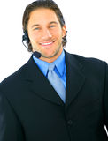 Smiling Portrait Of Male Customer Service. Portrait of young caucasian customer service representative royalty free stock photography