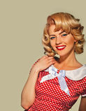 Smiling portrait retro pinup woman Royalty Free Stock Images