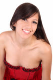 Smiling portrait young woman in red corset Royalty Free Stock Photos