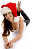 Smiling pose of christmas hat wearing woman Stock Photo