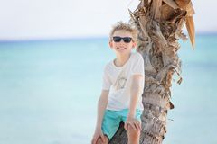 Kid on vacation. Smiling positive boy in sunglasses standing by the palm tree at the beach, tropical vacation concept Royalty Free Stock Image